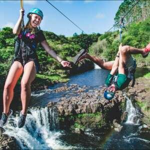 Zipline over Waterfalls in Hawaii